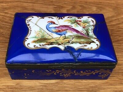 Attractive Sevres Metal Mounted Porcelain Trinket Box With Hand Painted Bird • 59.95£