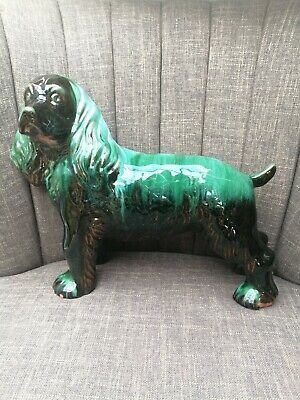 Large Standing Blue Mountain Spaniel Dog, Pottery, Glazed, Canadian  • 12£