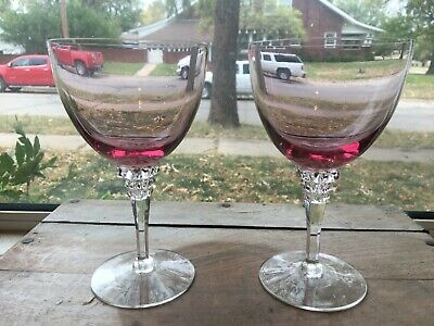 Two (2) Tiffin WISTARIA #17507 6-1/2  Water Goblets  1950-1967 • 15.43£