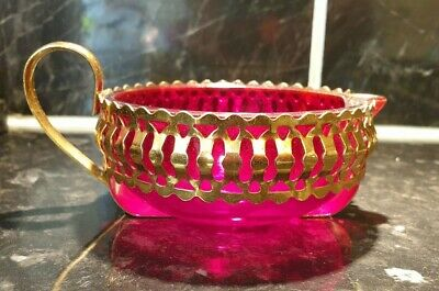Beautiful Antique/vintage Ruby Glass Jug/dish In Gilt Metal Decorative Casing • 7.50£