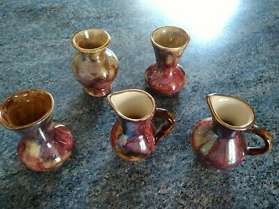 Oldcourt Ware Vases 5 Hand Painted Miniatures • 5£