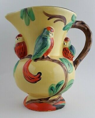 Lovely Vintage Large Art Deco Wadeheath Wade Jug With 3 Parrots 1920's-1930's. • 15£