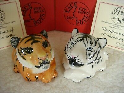 Tawny Yellow And White Asian Tiger Face Pots By Kevin Francis, Peggy Davies  • 6£