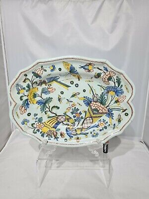 Rare French 18thc 13  Repaired Faience Moustiers Marsailles Malicorn Platter  • 39.99£
