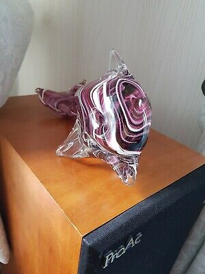 Mdina Glass Signed Dolphin Large Paperweight Vintage Art Sculpture Figurine • 30£