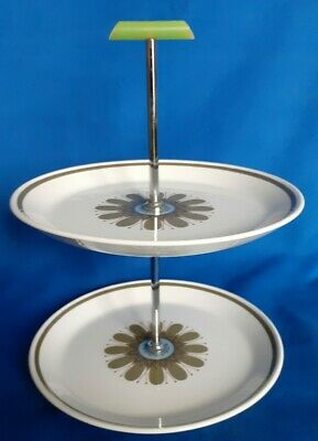 Vintage Meakin Studio Pottery 2 Tier Plate Cake Stand Galaxy Pattern  • 8£