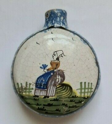 Antique Late 19th/early 20thC French Quimper Faience Scent Or Snuff Bottle  • 14.95£