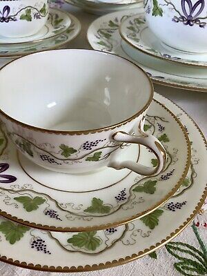 Early Wedgwood Antique Edwardian China Painted Tea Service Grapes Vines 22 Piece • 1.20£