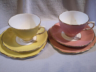 Colclough China Set. Harlequin Design Two Cups,Saucers,Plates • 14.99£