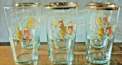 Set Of 6 Mid Century Vintage Fun Character Drinking Glasses Chance Glass • 25£