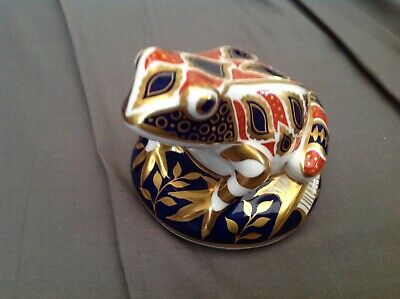 ROYAL CROWN DERBY IMARI PAPERWEIGHT (FROG) GOLD STOPPER 1st QUALITY NO/RESERVE • 30£
