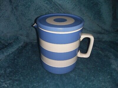 Vintage T G Green Blue & White  Cornishware  15 Cm Tall Lidded Water Jug - VGC • 52£