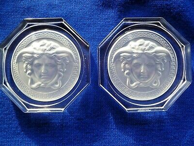 2 X Versace Rosenthal Glass Crystal Coasters Brand New In Clear Crystal • 50£