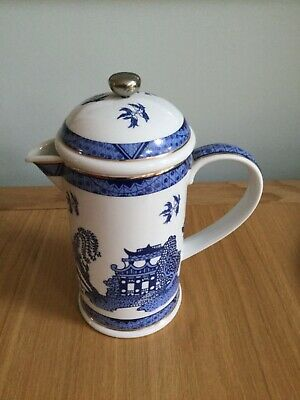 Cardew Blue China Cafetière With Metal Press. Unused. Very Pretty.  • 29£