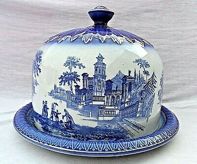 Large Antique Flow Blue Venetian Stilton Cheese Dome On Stand Vgc 9 1/4  Tall • 49.99£