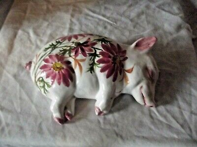 Rare Wemyss Ware Exon Sleeping Pig With Pink Daisies Signed Esther Weeks • 195£