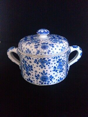 18thC Delft Two Handled Posset Pot And Cover. • 195£