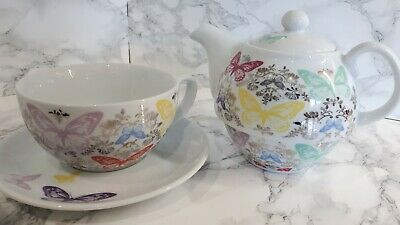 Paperchase Tea For One Teapot Cup & Saucer White With Butterflies • 12£