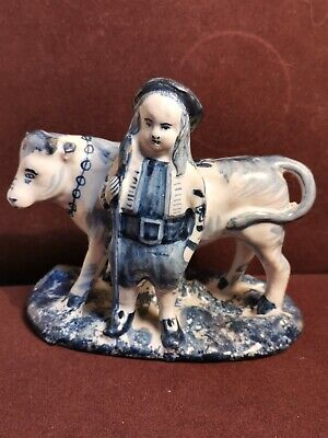 Antique Late 19th Century Delft Group Of Boy Beside A Cow  • 49.99£