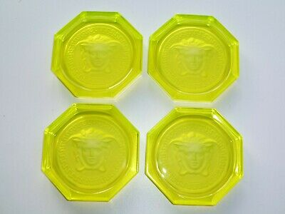 4 X Versace Rosenthal Glass Crystal Coasters Brand New In Yellow • 110£