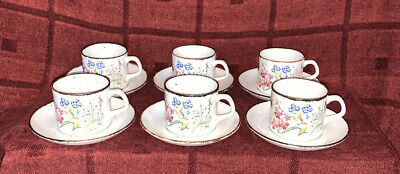 Set Of 6 J & G Meakin Lifestyle Wayside Cups & Saucers • 15£