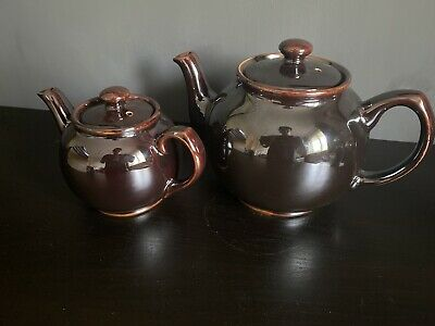 2 Vintage Sadler Brown Betty Treacle Glazed Teapot Medium Small Made In England • 39.99£