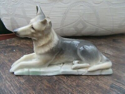 Branksome Hand Painted China German Shepherd Dog, Alsatian Damaged Ear • 8£