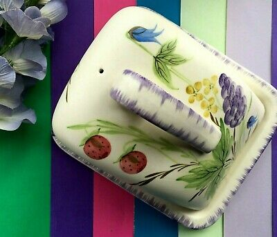 Vintage Radford Pottery Hand Painted Fruit & Floral Cheese Dish & Original Dome • 27.95£