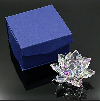 Large Multi Crystal Lotus Flower Ornament With Gift Box  Crystocraft Home Decor • 12.99£