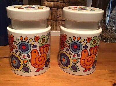 Pair Of Mid Century Lord Nelson Pottery 'Gaytime' Storage Containers • 50£