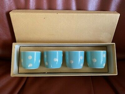 4 X Polka Dot Egg Cups Sandygate Pottery Devon  In Original Presentation Box • 24.99£