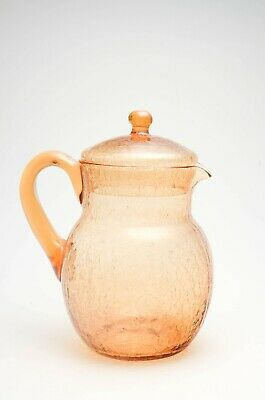 Vintage Amber Crackle Glass Pitcher With Lid And Applied Handle - EUC • 28.21£