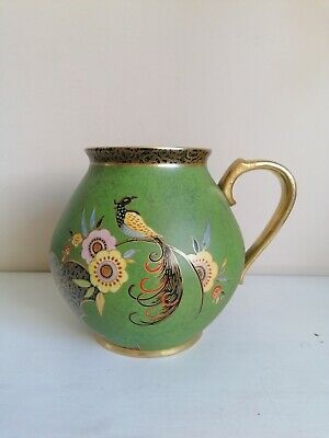Art Deco Carlton Ware  Feathertailed Bird & Flower  Handled Vase • 95£