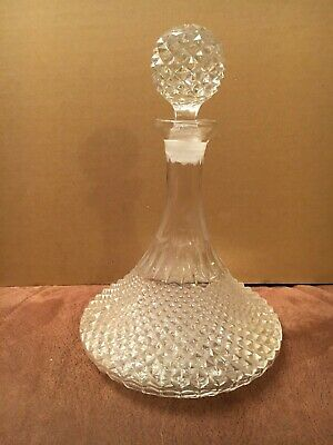 Crystal Cut Glass Admirals Decanter For Port, Sherry, Whiskey, Brandy • 16£