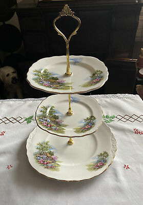 Vintage Royal Vale Bone China Cottage Garden 3 Tier Stand • 14.99£