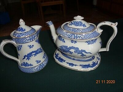 Vintage Booths Pottery Blue & White Dragon Pattern Tea Pot With Stand & Jug. • 5.50£