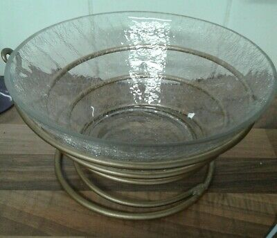 *****crackle Glass Bowl With  Stand ***** • 2.50£