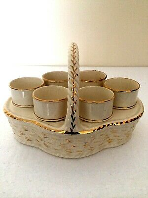 Spode Drabware Type Superb Set Of Six Egg Cups With Holder C1800's • 9.99£