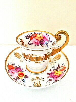 Stunning London Decorated Nantgarw - Swansea Cup & Saucer Empire Handle C1820 • 199.99£