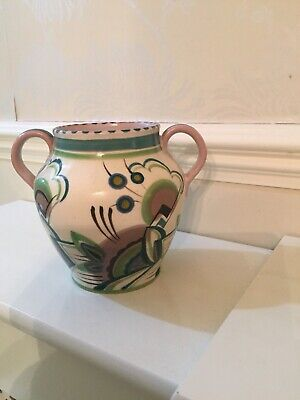 Poole Pottery Green / Patterned Deco Vase Possibly??? By Rene Hayes 1924/39 - • 20£