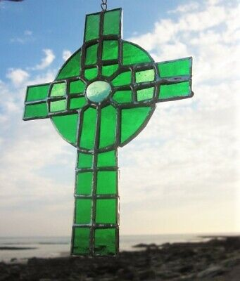 Stained Glass Celtic Cross Irish Green Handmade Suncatcher  • 19.50£