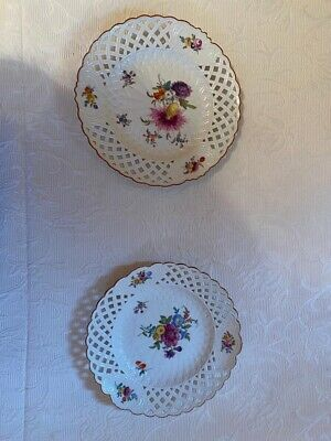 Pair Meissen Porcelain Reticulated Plate With Flowers Design . Hand Painted • 70£