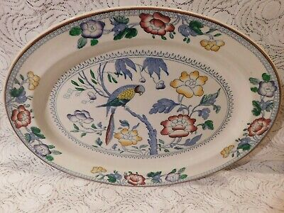 Antiques Boots Pottery Silicon China   Parrot   Large Serving Platter Ashet • 22.90£