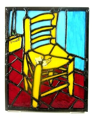 Stained Glass Van Gogh Chair With Pipe Tiffany Window Panel  • 74.22£