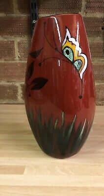 Poole Pottery England Red Floral And Butterfly Vase (Sel) • 10.49£