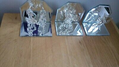 Unicorns Three Glass Models On Mirrors 4in/10cm High And Wide New Boxed • 6£
