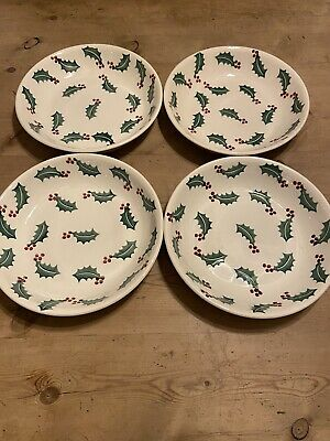 Emma Bridgewater Holly Christmas Pasta Dishes Brand New Set Of 4 • 12.50£