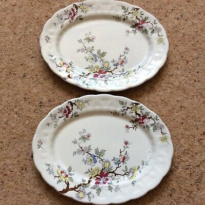 Vintage Pottery China Booths 'Chinese Tree' A8001 2 Oval Plates Art Deco • 16£