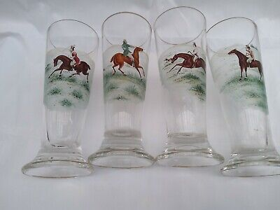 Set Of4 Victorian Hand Painted Equestrian ,hunting Scenes,ale Glasses Circa 1900 • 79.99£