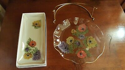 Vintage Chance Glass Anemone Serving Pattern Plate & Cake Plate • 9.95£